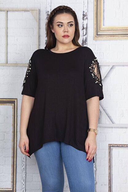 Şans Kadın Siyah Dantel Ve İnci Detaylı Viskon Bluz 65N22725