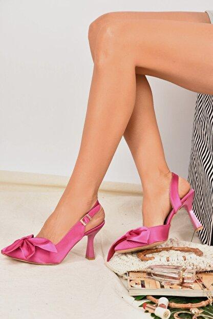 Fox Shoes Kadın  Fuşya Saten Kumaş Topuklu Ayakkabı K922164804