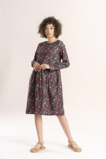 İpekçi Otantik Kadın Haki Otantik Çiçek Desenli Pazen Elbise