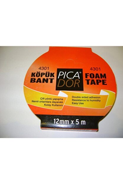 Picador 4301 Çift Taraflı Kağıt Bant Köpük Rulo Askılı 12mmx5mt