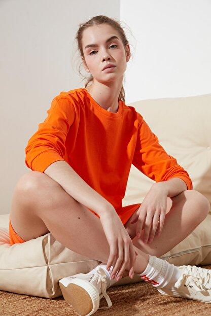 TRENDYOLMİLLA Turuncu Crop Örme T-Shirt TWOSS21TS0659