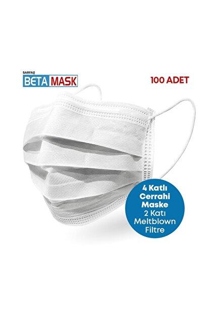 SARFAŞ Beta Mask Beyaz ÜTS Kayıtlı 4 Katlı  Meltblown Filtre Cerrahi Maske 100 Adet