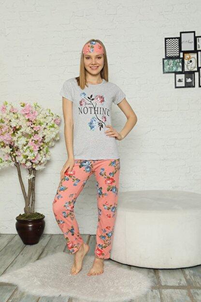 Little Hopes Kadın Gri  Somon Kısa Kollu Çiçek Desenli Pijama Takımı