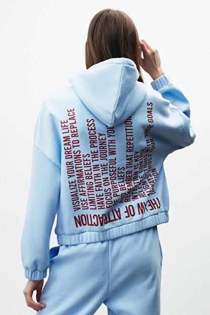 GRIMELANGE CHAYA Kadın Mavi Önü ve Arkası Baskılı Kapüşonlu Sweatshirt