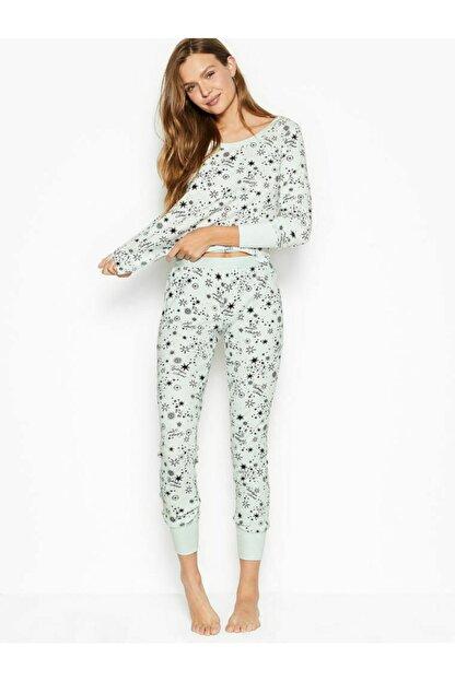 Victoria's Secret Kadın Beyaz Termal Uzun Pijama Takımı