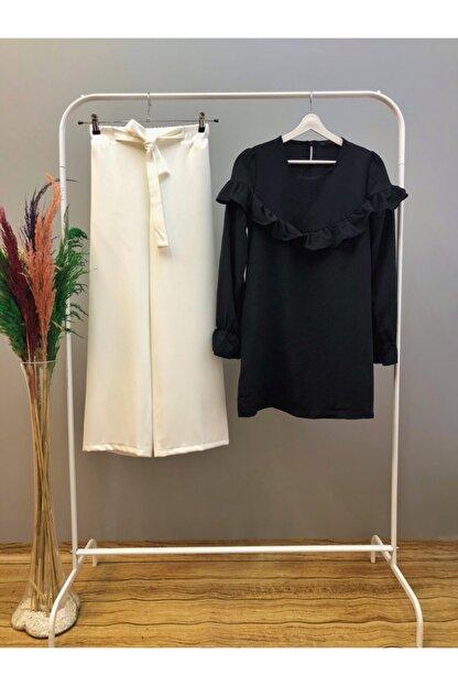 Maystore Yelda Takım Fırfırlı Tunik Ve Pantolon Kombin-siyah