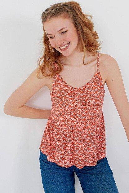 Addax Kadın Kırmızı Çiçek Desenli Bluz Çiç B12242 Adx-0000023925