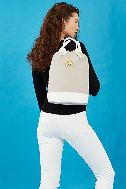 US Polo Assn A.Gri-Beyaz Kadin Sirt Çantasi Us3031