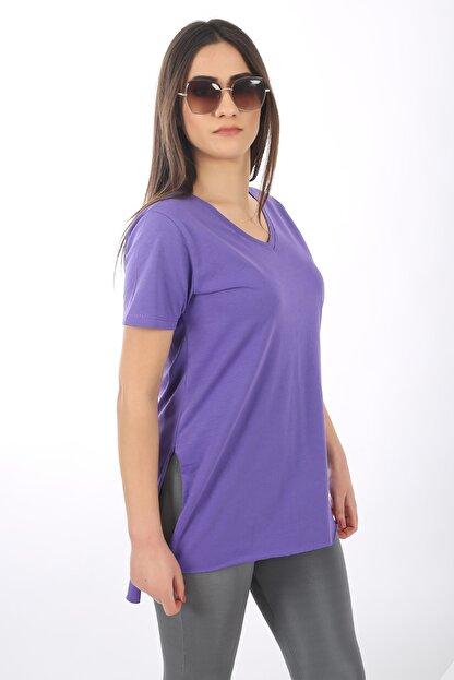 SARAMODEX Kadın Mor V Yaka Düz Renk Basic T-Shirt