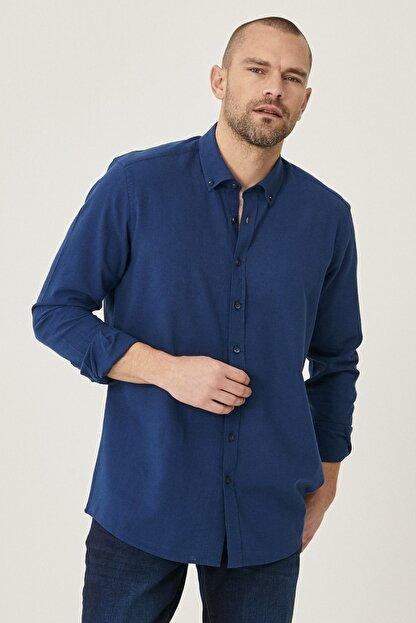 Altınyıldız Classics Erkek Lacivert Tailored Slim Fit Dar Kesim Düğmeli Yaka Keten Gömlek