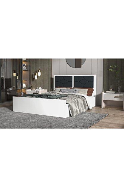 Stoker Loft Serisi Premium Çift Kişilik Başlıklı Lüx Karyola Parlak Beyaz