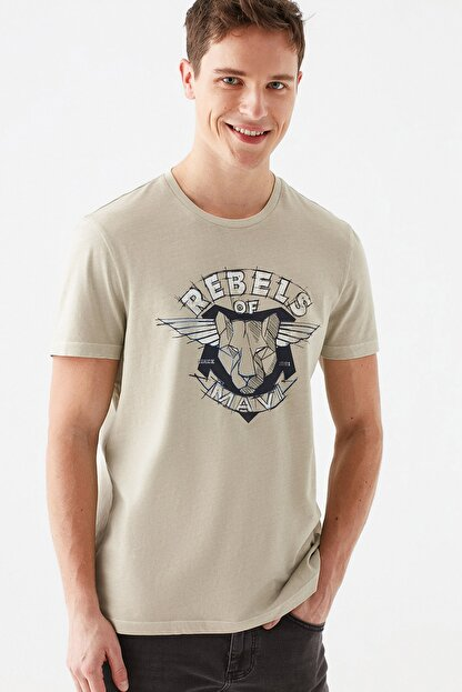 Mavi Rebels Of Baskılı Bej Tişört