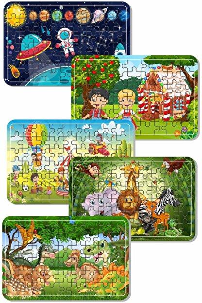 Baskı Atölyesi Uzay, Dinazor, Oyun, Hayvanlar 54 Parça Ahşap Puzzle Yapboz 5'li Set