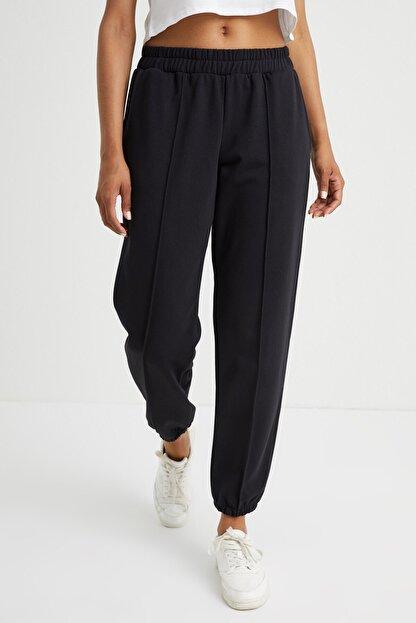 Curly Store Kadın Siyah Dikişli Jogger Pantolon