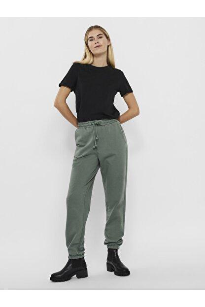 Vero Moda Kadın Yeşil Paçası Lastikli Yüksek Bel  Pantolon