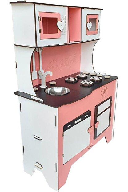 WoodyLife 104 Cm Çocuk Odası Ahşap Mutfak Montessori Oyuncak Dolabı Pembe Zeytindalı Oyunevi Kutu