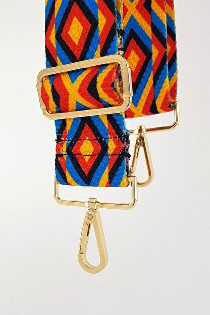 FAEN Asel Etnik Desenli Çanta Askısı Gold Metal