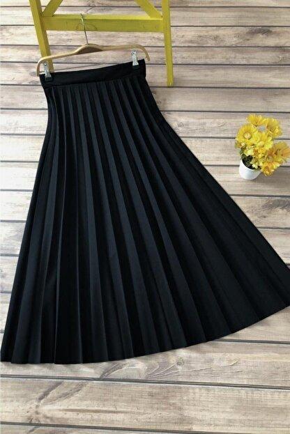 modabirsen Kadın Siyah Uzun Piliseli Yüksek Bel Etek