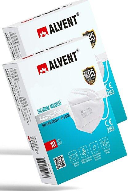 ALVENT Ventilsiz N95 Çift Meltblown Katmanlı Maske Iso Ve Ce Sertifikalı 20 Adet