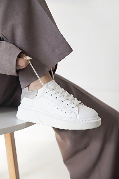 Straswans Huws Kadın Süet Spor Ayakkabı Beyaz-gri