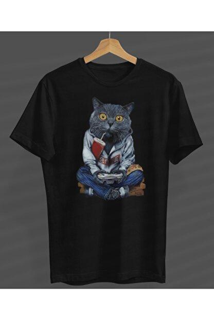 NVM Tekstil Unisex Game Play Kedi Özel Tasarım Siyah Yuvarlak Yaka T-shirt