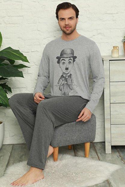Pijamaevi Erkek Gri Chaplin Baskılı Uzun Kollu Pijama Takımı