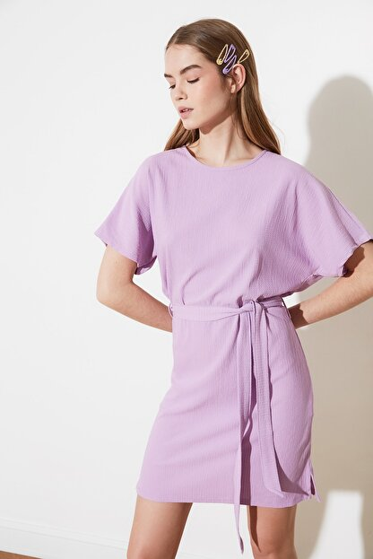 TRENDYOLMİLLA Lila Bağlama Detaylı Örme Elbise TWOSS21EL2015