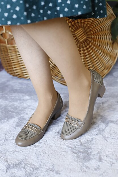PUNTO Kadın Vizon Renk Yumurta Topuk Ayakkabı