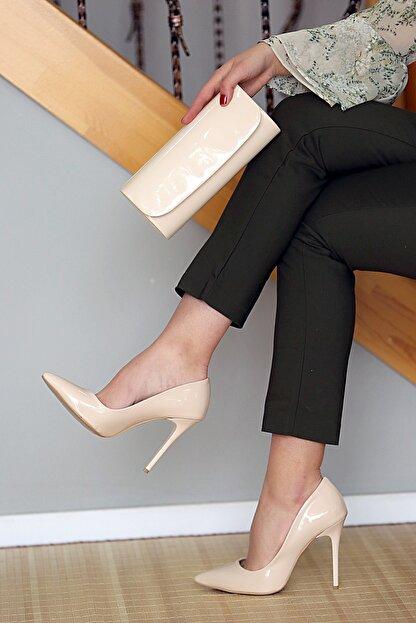 WMİLANO Kadın Ten Rugan İnce Topuklu Ayakkabı Çanta Takım