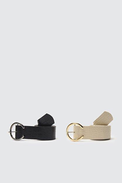 TRENDYOLMİLLA Siyah-Ten 2'li Paket Croco Deri Görünümlü Metal Tokalı Kemer TWOSS21KE0075