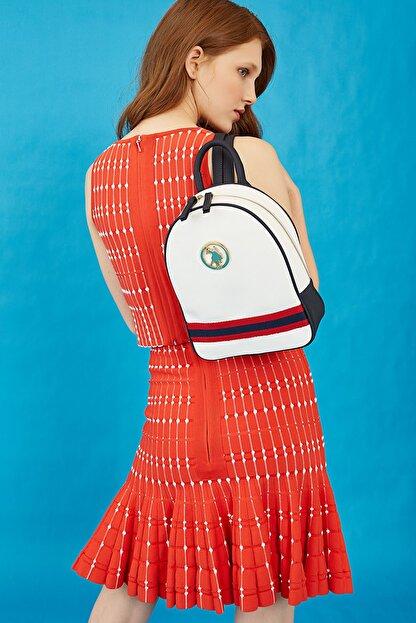 US Polo Assn Beyaz-lacıvert Kadın Sırt Çantası Us8218