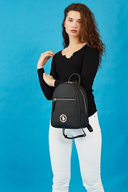US Polo Assn Kadın  Siyah Sırt Çantası Us8709