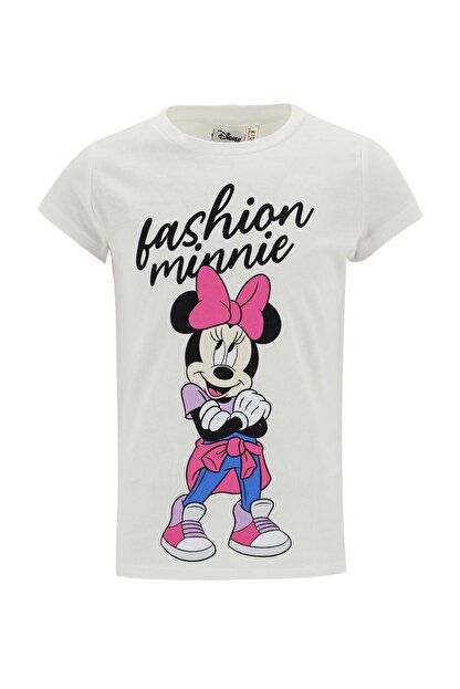 Defacto Kız Çocuk Beyaz Minnie Mouse Lisanlı Kısa Kol Tişört