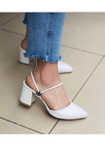 BY MAY SHOES Kadın Beyaz Topuklu İp Sandalet Terlik Ayakkabı