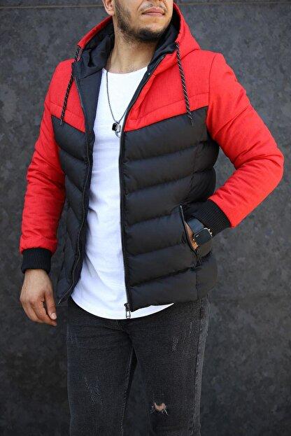 Densmood Erkek Kırmızı Çift Renk Kapüşonlu Şişme Mont