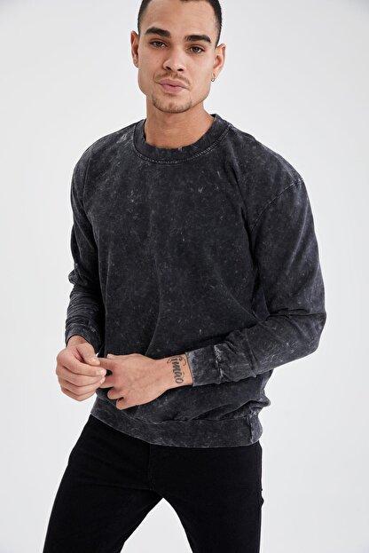 Defacto Oversize Fit Bisiklet Yaka Yıkama Efektli Sweatshirt