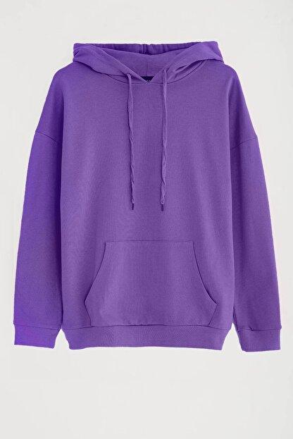 GRIMELANGE JANE Kadın Mor Basic Kapüşonlu Sweatshirt