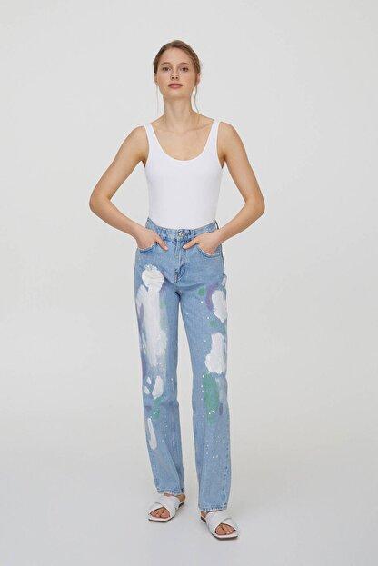 Pull & Bear Kadın Mavi Yüksek Bel Boya Desenli Jeans