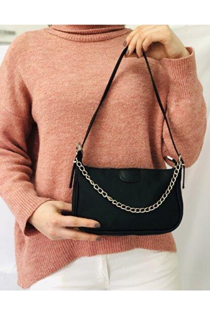 Esila Butik Kadın Siyah Saten Ince Zincirli Baget Baguette Çanta