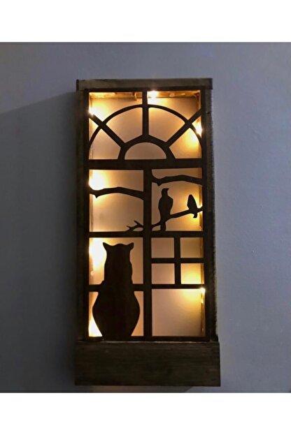 MSAĞWOODS 36x18 Piller Dahil Peri Ledli Desenli Masif Ahşap Tablo Duvar Süsü Ev Hediyesi Hol Antre Gece Lamba