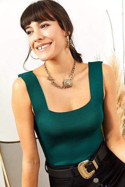 Olalook Kadın Zümrüt Yeşili Kalın Askılı Yazlık Triko Bluz BLZ-19000853