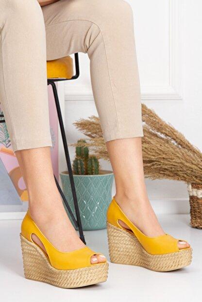 derithy Older Dolgu Topuklu Ayakkabı-hardal-lzt0536