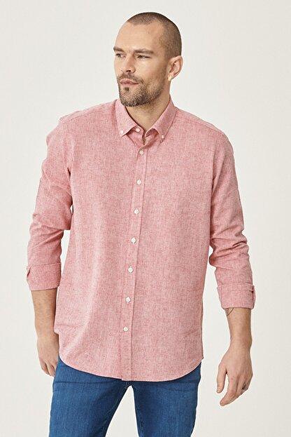 Altınyıldız Classics Erkek Kırmızı Tailored Slim Fit Dar Kesim Düğmeli Yaka Keten Gömlek