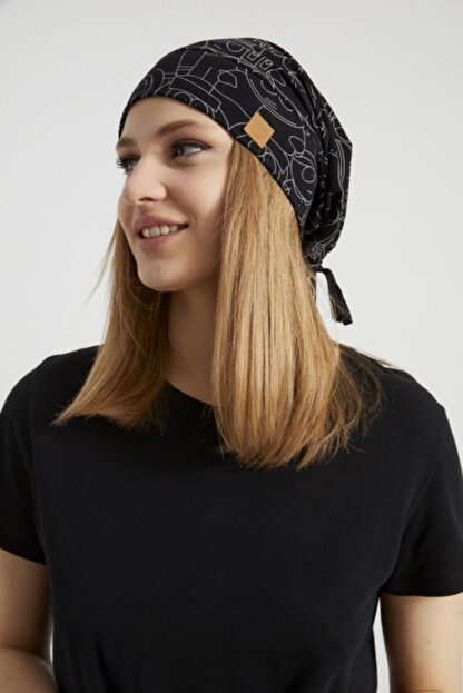 Butikgiz Kadın Siyah, Beyaz Desenli, Ip Detaylı 4 Mevsim Şapka Bere Buff -ultra Yumuşak Doğal Penye Kumaş