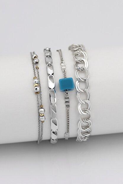 Sortie Aksesuar Kadın Gümüş Mavi Boncuklu Kombin Bileklik 4'lü 004