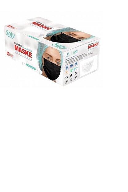 Soly Care Siyah 3 Katlı Full Ultrasonic Telli Maske 50 Adet