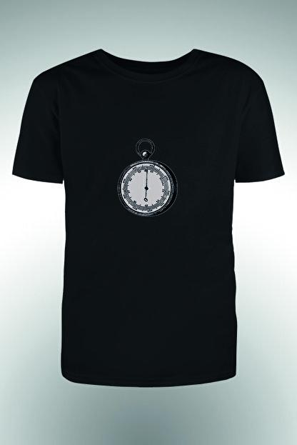 By Okat Erkek Siyah Pusula Baskılı T-Shirt