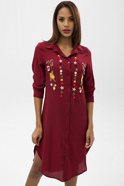 4over4 Kadın Bordo Işlemeli Kısa Gömlek Elbise