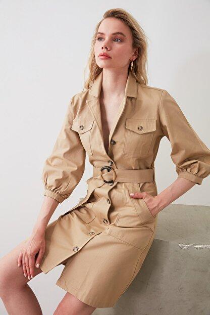 TRENDYOLMİLLA Camel  Kemerli Gömlek Elbise TWOAW20EL1156