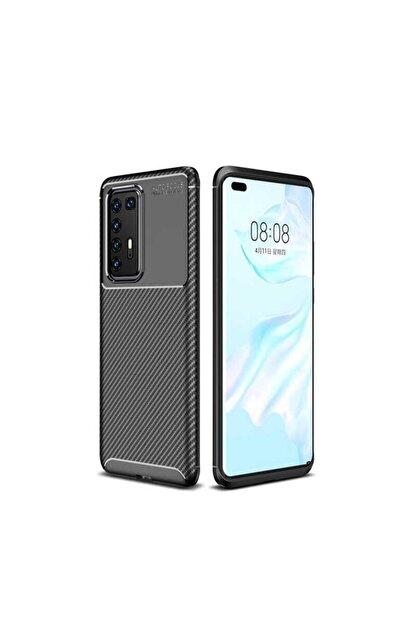 Ack Huawei P40 Pro Kılıf Slim Fit Kamera Korumalı Karbon Silikon Siyah